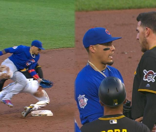 Cubs Bucs Benches Clear After Hard Slide At 2nd