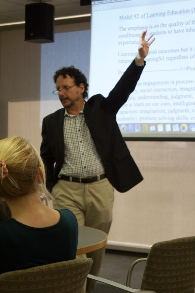 Fig 2- Professor Gregory Pappas explains two different types of democracy, what he calls thin democracy and thick democracy (Photo-Sarah Ballard)
