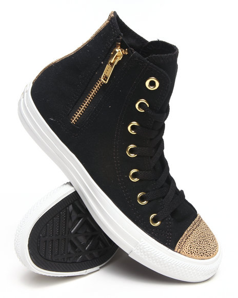 d05e0fe17ce5cf Converse – Women Black Chuck Taylor Sparkle Toe Cap All Star Side Zip  Sneakers