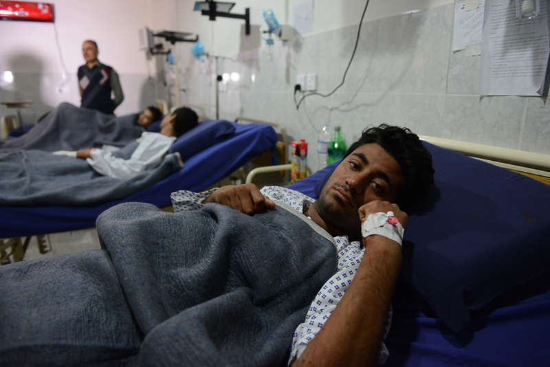 Victims of the attack, at the Lady Redding Hospital, Peshawar