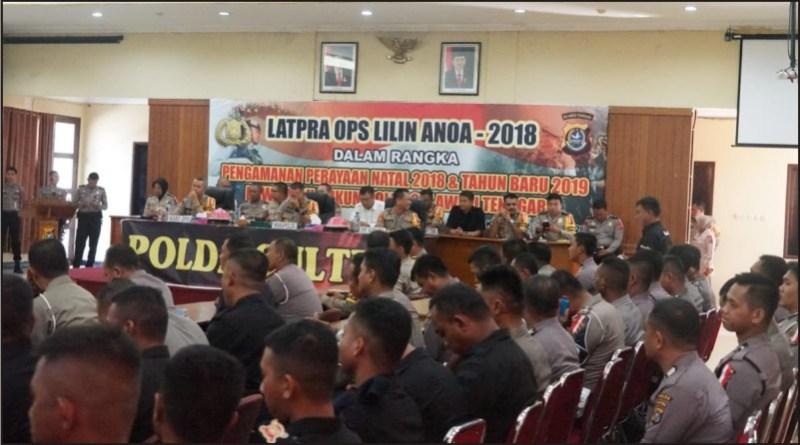 Latihan Pra Operasi (Latpra Ops) lilin anoa 2018 di Aula Dachara Polda Sultra, Rabu 12 Desember 2018.
