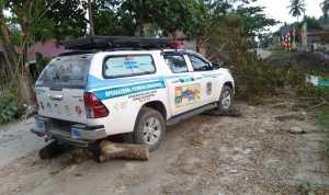 Tampak Mobil Operasional Dinkes Muna Yang di sandra Frasa Laiba (Foto: Ist)