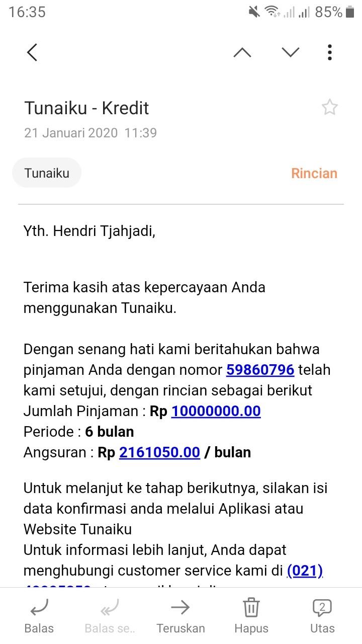 Pencairan Pinjaman Aplikasi Tunaiku (Bank Amar Indonesia) Tidak Jelas - Media Konsumen