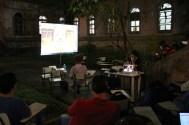 Renzo Tadei comtando em videoconferencia su lance com a editora
