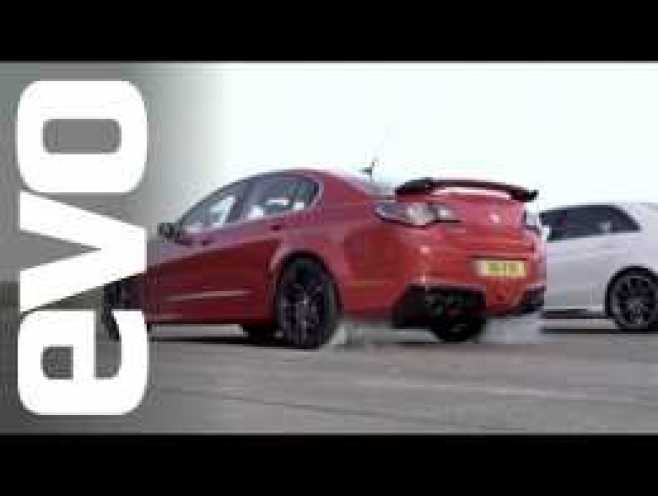 Mercedes E63 AMG vs Vauxhall VXR8 GTS | evo DRAG BATTLES