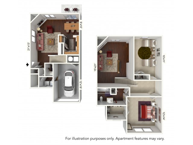 2 Bed 1 5 Bath Apartment In Buffalo Ny Windsong Place Apartments G Plan 2 Level Townhome With Attached Garage