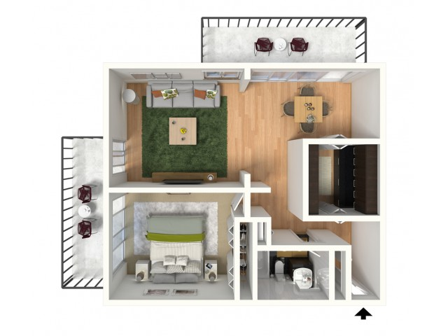 One Bedroom 700 Sq Ft 1 Bed