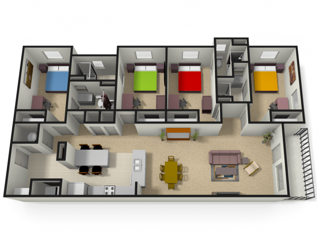4x4 4 Bed Apartment The Lofts