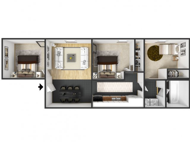 2 Bedroom With Alcove 3 Bed Apartment