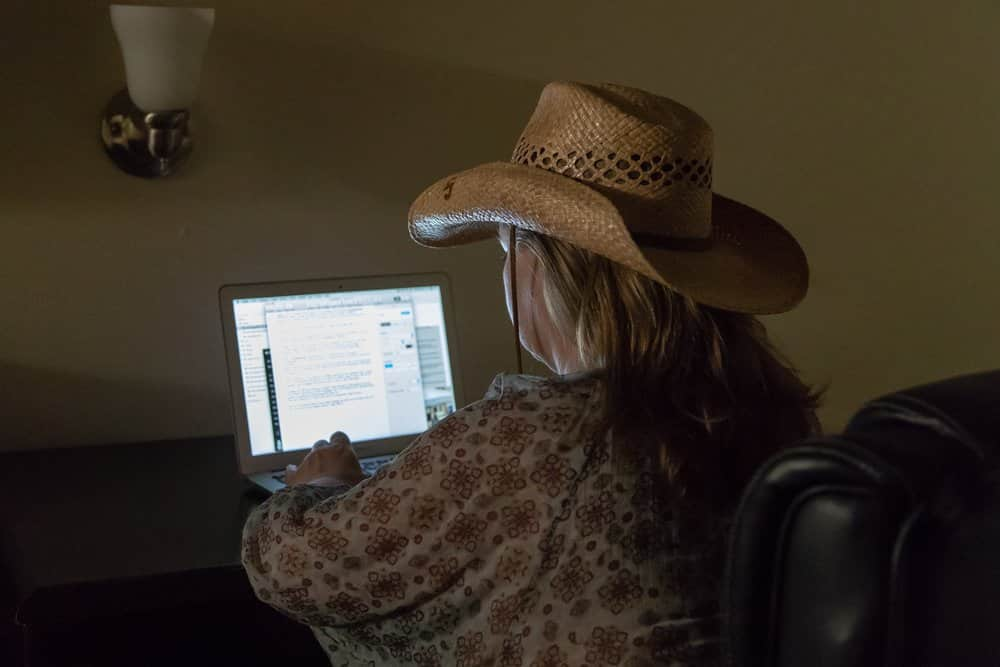 Mobilt kontor i ett hotellrum i Nashville, USA. Foto: Morgan Grip