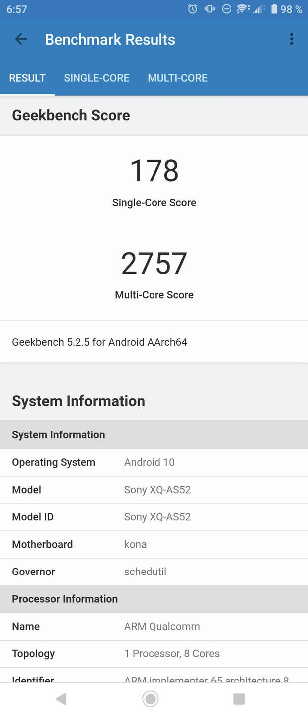 Sony Xperia 5 II results on Geekbench 5.