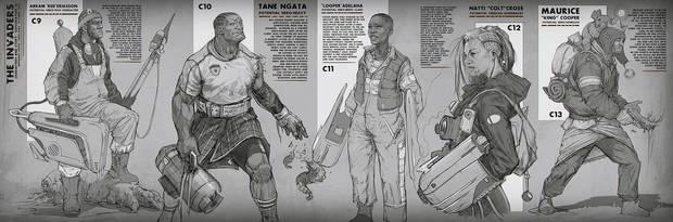 Some examples of different characters, people of all kinds caught in the battle against the aliens