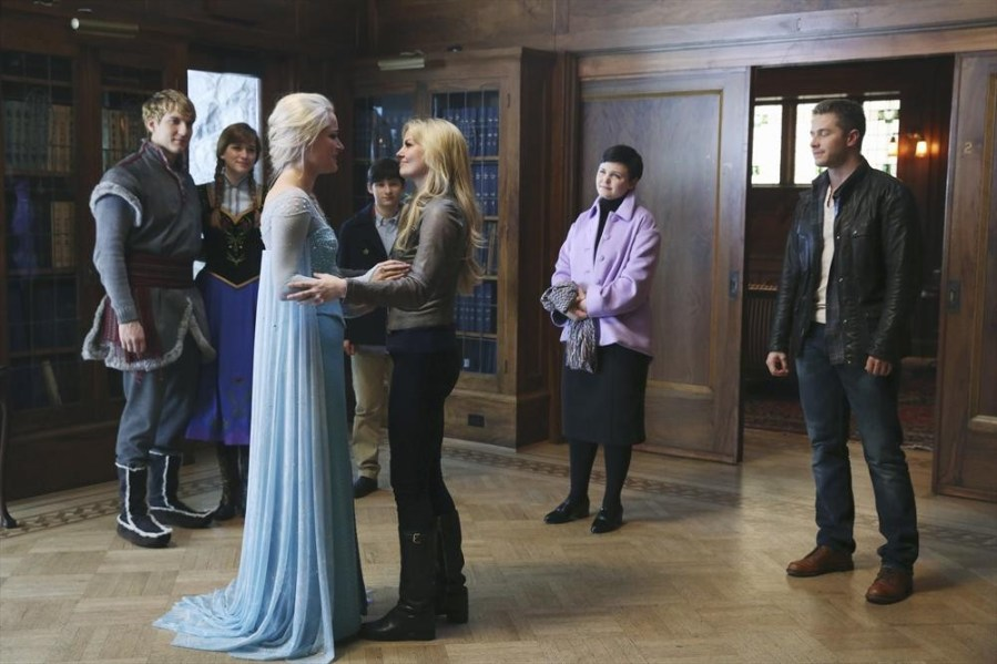 "ONCE UPON A TIME - ""Heroes and Villains"" - In the aftermath of the Snow Queen's spell, our heroes try to pick up the pieces and Regina has to make a difficult choice. Hook's fate hangs in the balance as Gold's quest for power threatens everything he holds dear. And, in the Enchanted Forest flashback, an intrusion during Belle's stay at Rumplestiltskin's dark castle will wreak havoc in both the past and the future, on the winter finale of ""Once Upon a Time,"" SUNDAY, DECEMBER 14 (8:00-9:00 p.m., ET) on the ABC Television Network. (ABC/Jack Rowand) SCOTT MICHAEL FOSTER, ELIZABETH LAIL, GEORGINA HAIG, JARED S. GILMORE, JENNIFER MORRISON, GINNIFER GOODWIN, JOSH DALLAS"