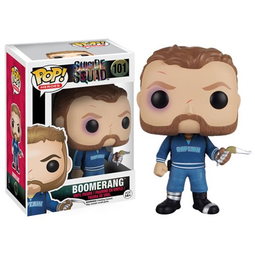 Captain Boomerang is featured battered, but ready for more in his blue 'Captain' jacket and his weapon of choice.