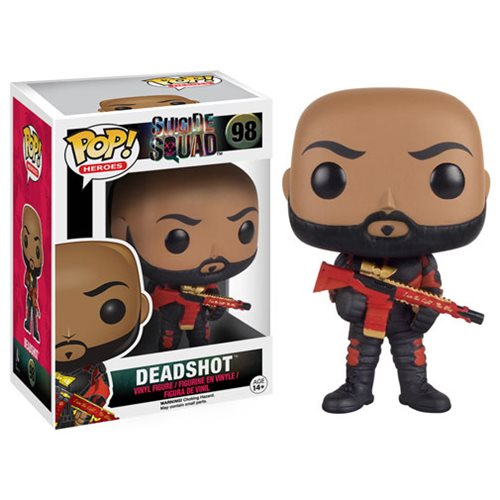 Deadshot is featured unmasked and suited for battle.