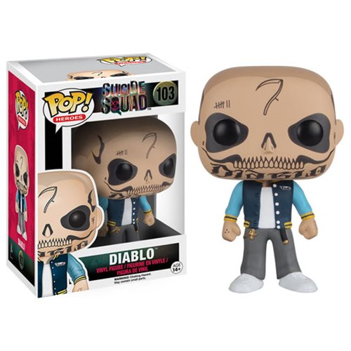 El Diablo is featured with his iconic tattooed face and baseball jacket.