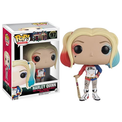 Harley Quinn is featured in her red and blue outfit complete with her bat and dyed pigtails.
