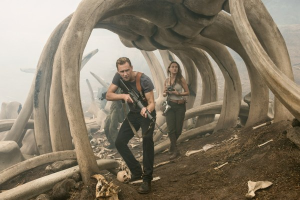 "(L-r) TOM HIDDLESTON as Conrad, BRIE LARSON as Mason in Warner Bros. Pictures' and Legendary Pictures' action adventure ""KONG: SKULL ISLAND,"" a Warner Bros. Pictures release."