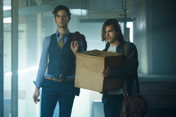 "MAGICIANS -- ""Consequences of Advanced Spellcasting"" Episode 103 -- Pictured: (l-r) Hale Appleman as Eliot, Jason Ralph as Quentin -- (Photo by: Carole Segal/Syfy)"