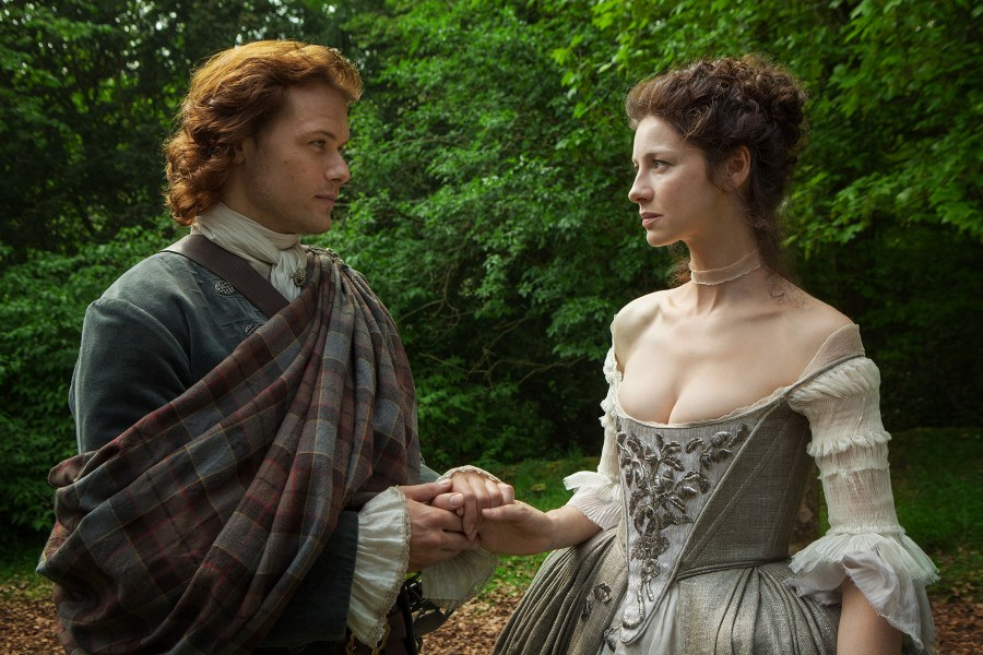 Jamie and Claire in 'The Wedding' on Outlander / Starz