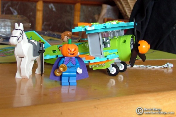 """The assembled Lego """"Mystery Plane Adventures"""" set."""