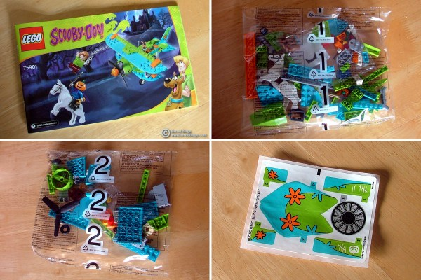 """Contents of the Lego """"Mystery Plane Adventures"""" set."""