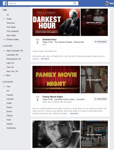 Films in my Facebook Events