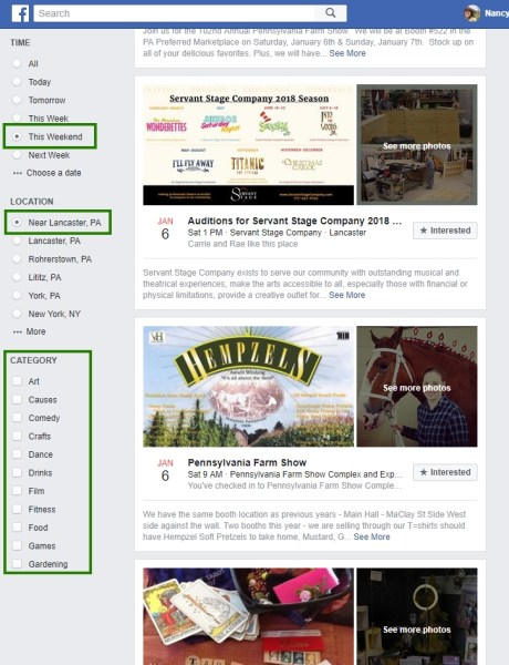 Menu Options for Facebook Events