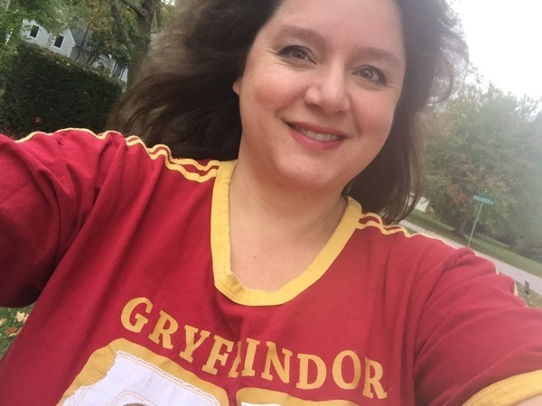 Nancy Basile in Gryffindor Quidditch Shirt