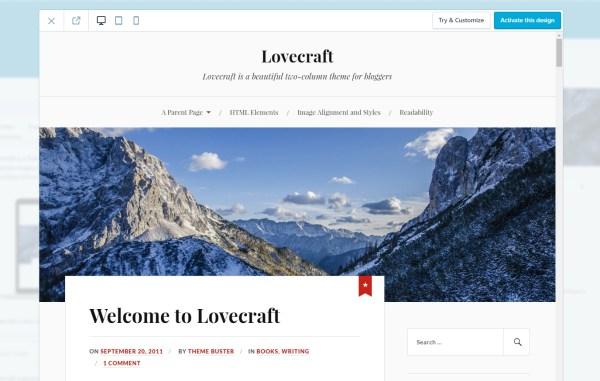 Lovecraft WordPress Theme Screenshot