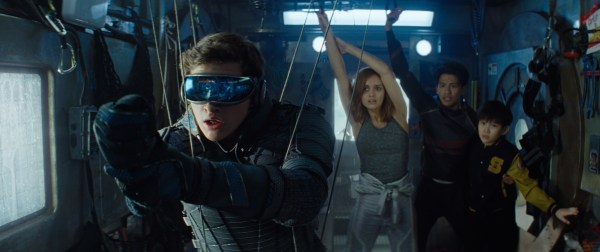 """(L-R) TYE SHERIDAN as Wade Watts, OLIVIA COOKE as Samantha Cook, WIN MORISAKI as Daito and PHILIP ZHAO as Sho in Warner Bros. Pictures,' Amblin Entertainment's and Village Roadshow Pictures' science fiction action adventure """"READY PLAYER ONE,"""" a Warner Bros. Pictures release."""