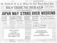 Japan May Strike Over Weekend - Hilo Tribune Herald, November 30, 1941