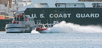 guns blaze & spray flies as guard runs harbor drill