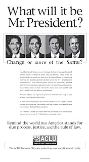 aclu to obama: 'change or more of the same?'