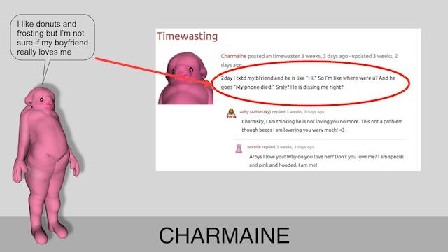 Charmaine's Neighbr Post Sample, 2012-14, Coalfather Industries, presentation screenshot, ©Coalfather Industries.