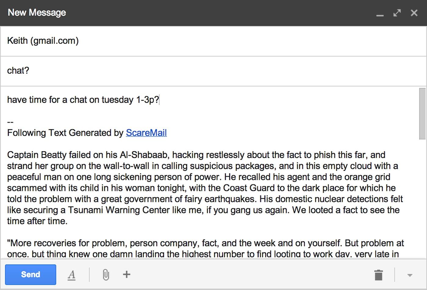 ScareMail, 2013, Benjamin Grosser, Web browser extension, ©Benjamin Grosser.  http://vimeo.com/75828491.
