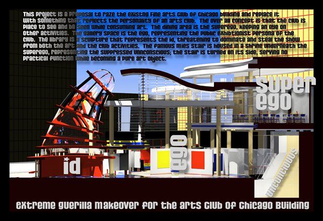 """Arts Club of Chicago section view, 1997, Mark S.C. Nelson, 24""""x36"""" digital print on photo paper of virtual model, ©Mark S.C. Nelson & Elk Norsman."""