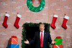 Trump Emerges From A Big Fake Christmas Fireplace, And The Jokes Write Themselves