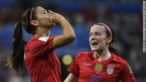 A talented England team put the US under pressure but the defending champions won 2-1 to earn a spot in the World Cup final for the third consecutive time