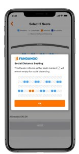 Fandango adds new features to highlight health precautions and distancing in movie theaters
