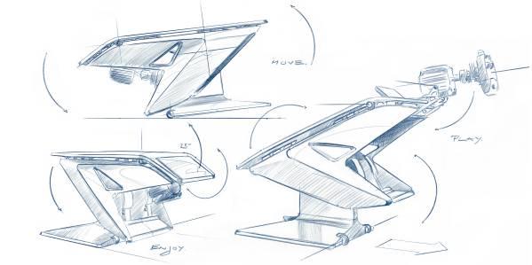 Munich (GER), 5th December 2020. BMW SIM Live, event, show, Fusion SL Concept, Sedus, BMW Designworks, design table, sim rig, sketch.