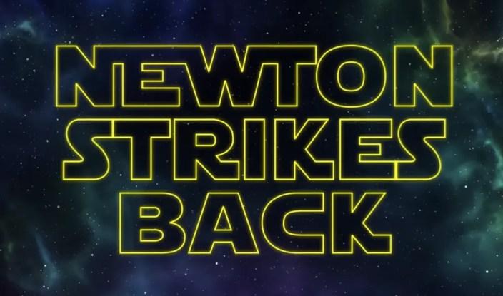 """Newton Strikes Back"" (screenshot/""It's Okay to be Smart"")"