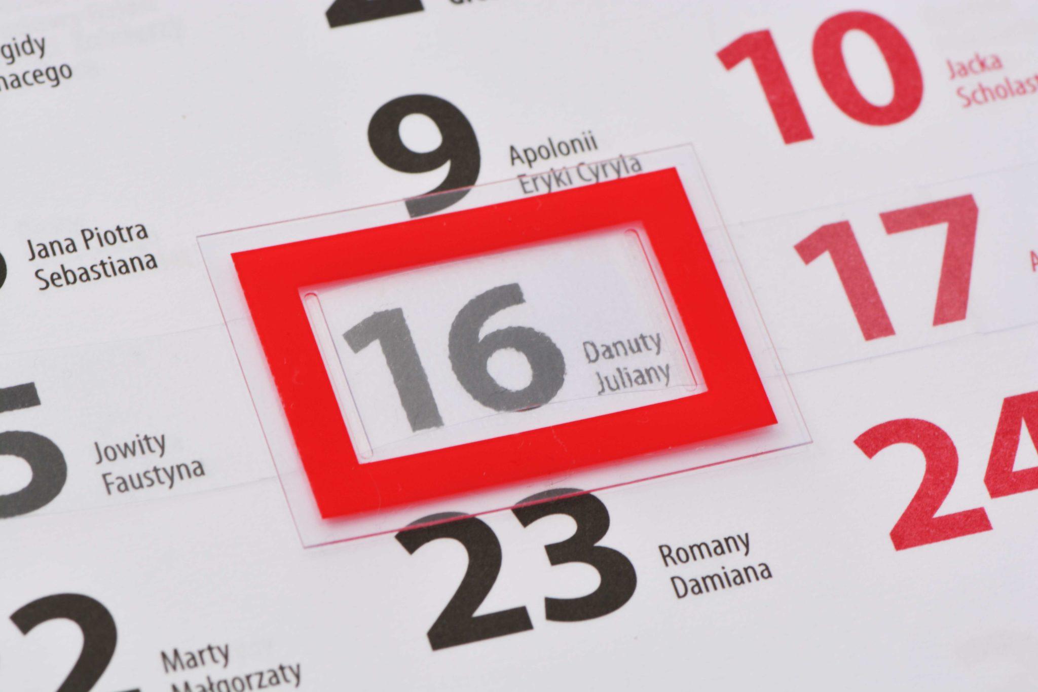 okienka do kalendarzy - nadrukowane