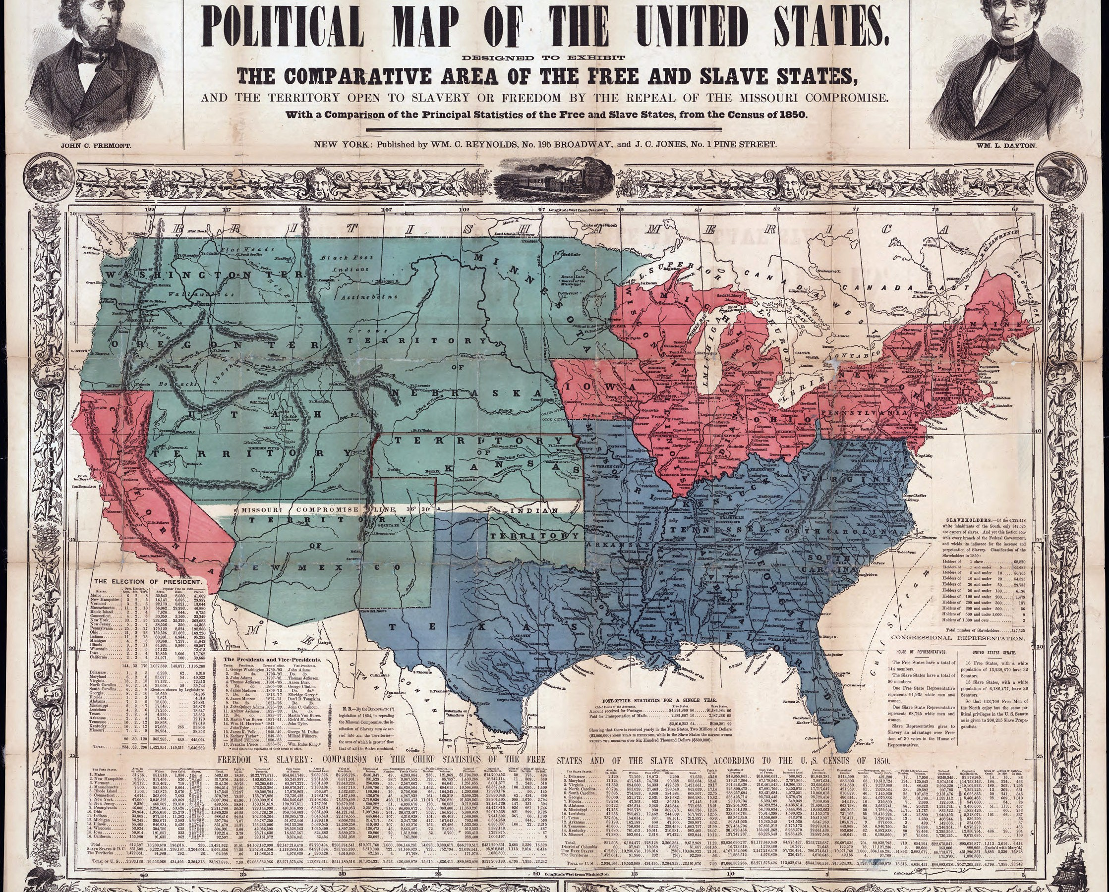 Map of Free and Slave States