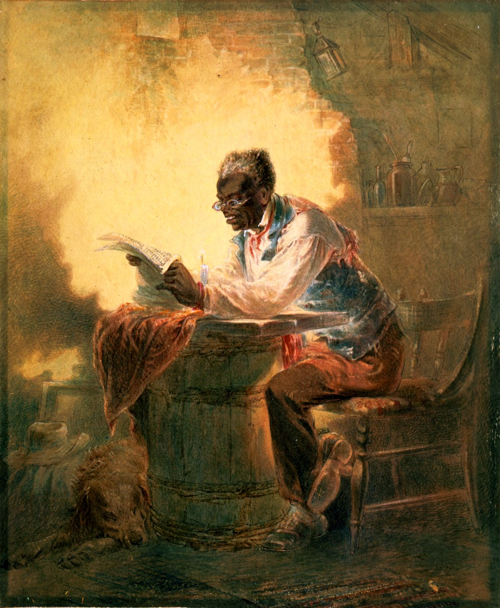 "Black man reading newspaper by candlelight Man reading a newspaper with headline, ""Presidential Proclamation, Slavery,"" which refers to the Jan. 1863 Emancipation Proclamation. drawing : watercolor."