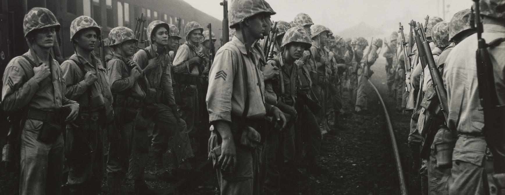 Korean War: 3rd platoon of D Co, 2nd Bn, 5th marines muster
