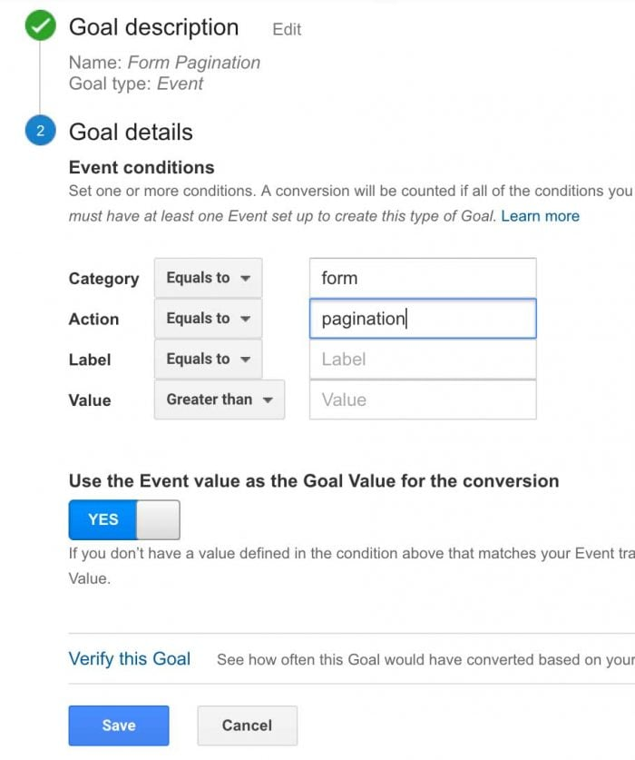 Pagination Goal in Google Analytics