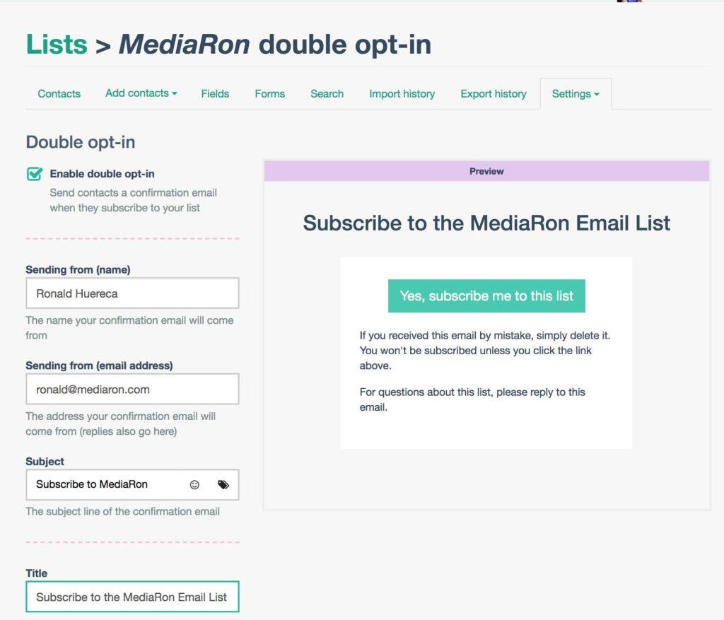 EmailOctopus Double-Opt-In Screen