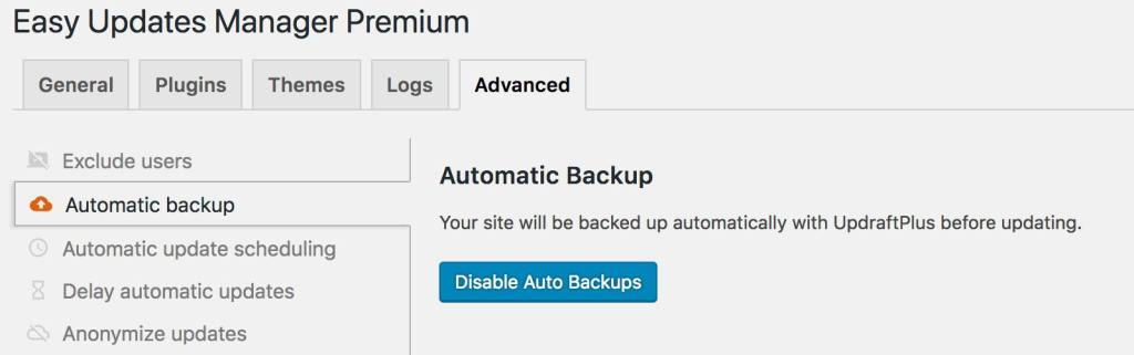 EUM With Backups Enabled