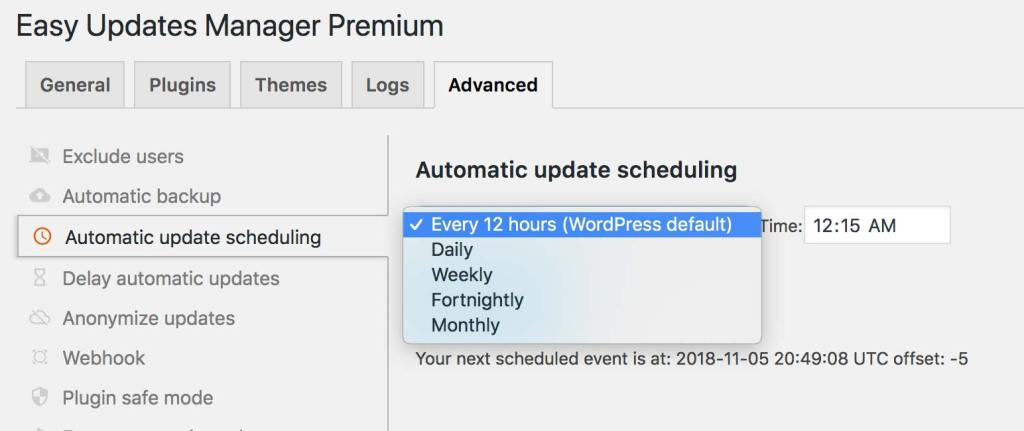 EUM - Automatic Backup Scheduling